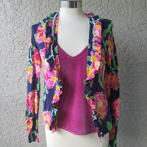Lilly Pulitzer floral ruffle cardigan V neck Pink